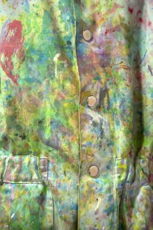 Photo for Closeup of the dirty coat with colorful paint stains - Royalty Free Image