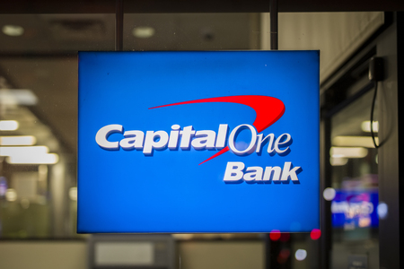 Photo for NEW YORK, USA - AUGUST 27, 2017: Sign of Capital One Bank in New York, USA. It is a bank holding company headquartered in McLean, Virginia. - Royalty Free Image