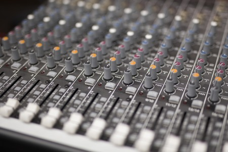 Photo for Close up view at mixing console in studio - Royalty Free Image