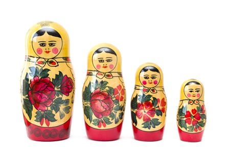 Photo pour Russian nesting dolls, matryoshkas isolated on the white background - image libre de droit