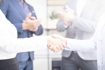 Photo for Businesswomen making deal at meeting and handshaking in the office - Royalty Free Image