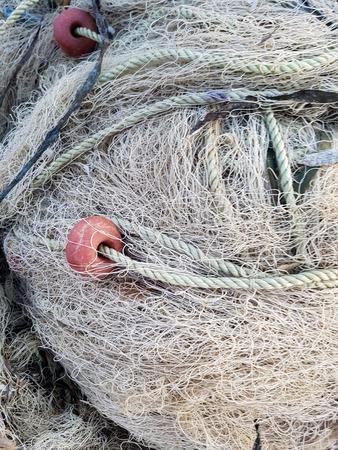 Photo pour Closeup of the fishing net in the port - image libre de droit