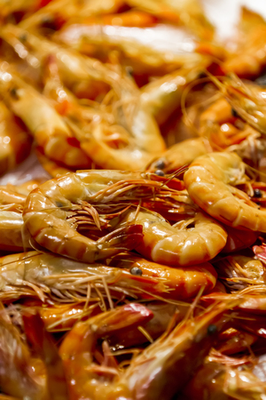 Photo for Closeup of the fresh large langoustines on the market - Royalty Free Image