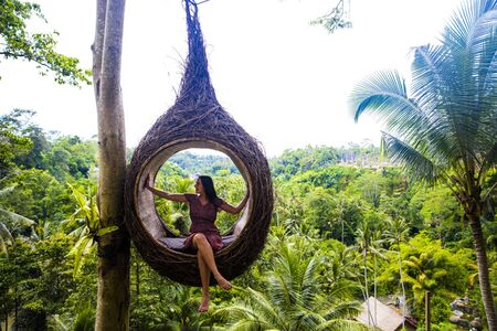 Photo for A female tourist is sitting on a large bird nest on a tree at Bali island, Indonesia - Royalty Free Image