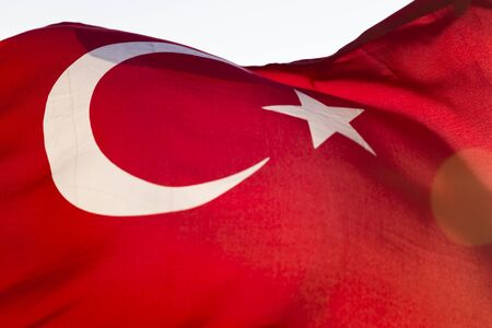 Foto de Closeup detail of Turkish flag waving in the wind - Imagen libre de derechos