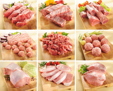Various types of pork and beef meats on cutting boards