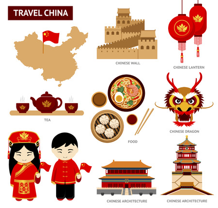 Illustration for Travel to China. Set of icons of Chinese architecture, food, costumes, traditional symbols. Collection of illustration to guide China. - Royalty Free Image
