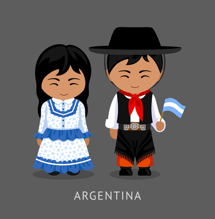 Illustration pour Argentines in national dress with a flag. Man and woman in traditional costume. Travel to Argentina. People. Vector flat illustration. - image libre de droit
