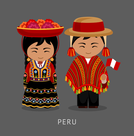 Illustration pour Peruvian in national dress. Man and woman in traditional costume. Travel to Peru. People. Vector flat illustration. - image libre de droit