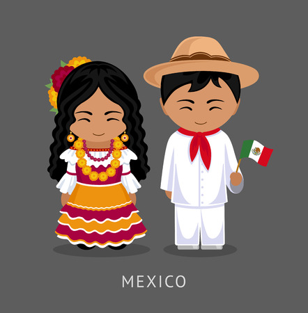 Illustration for Mexicans in national dress with a flag. A man and a woman in traditional costume. Travel to Mexico. People. Vector flat illustration. - Royalty Free Image