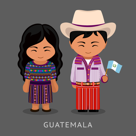 Illustration pour Guatemalans in national dress with a flag. Man and woman in traditional costume. Travel to Guatemala. People. Vector flat illustration. - image libre de droit