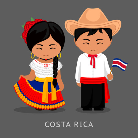 Illustration pour Costa Ricans in national dress with a flag. Man and woman in traditional costume. Travel to Costa Rica. People. Vector flat illustration. - image libre de droit