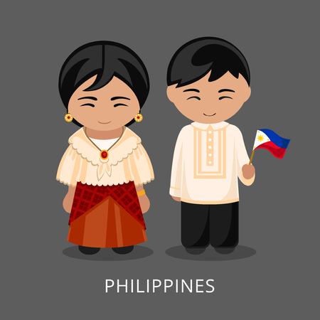 Ilustración de Filipinos in national dress with a flag. Man and woman in traditional costume. Travel to Philippines. People. Vector flat illustration. - Imagen libre de derechos