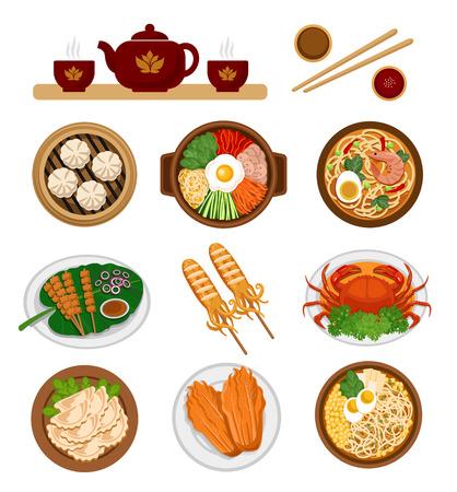 Ilustración de Set of asian food. Chinese and Korean cuisine. Vector flat illustration. - Imagen libre de derechos