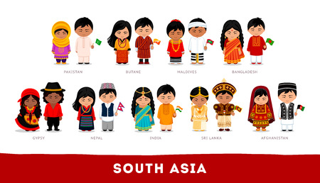 Illustration pour Set of cartoon characters in traditional costume - image libre de droit
