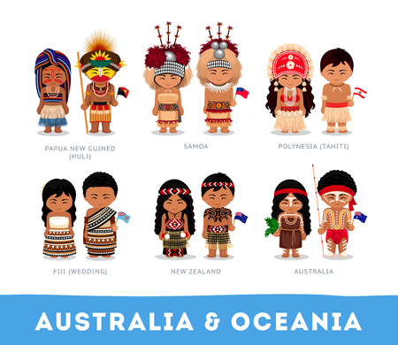 Illustration pour People in national clothes. Australia & Oceania. Set of cartoon characters in traditional costume. Vector flat illustrations. - image libre de droit
