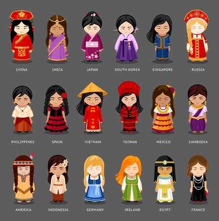 Illustration pour Cartoon girls in different national costumes. Vector illustration of multicultural national woman, people on planet earth. Set of international people in traditional clothes. - image libre de droit
