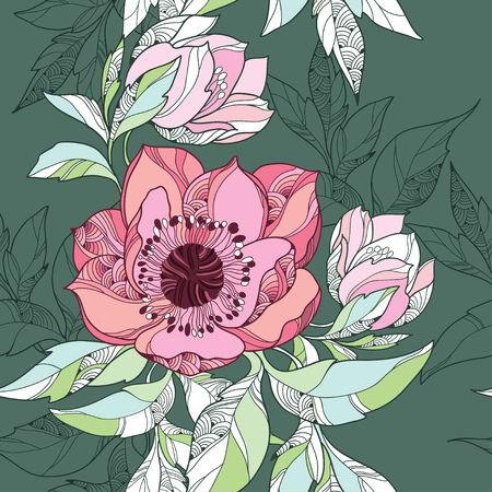 Foto de Seamless pattern with Clematis flower in pink on the dark green background - Imagen libre de derechos