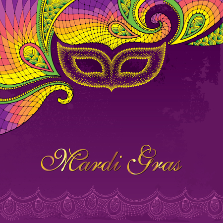 Illustration pour Greeting card with dotted carnival mask in yellow and decorative colorful lace on the violet background. Traditional festive background for Mardi Gras. Decoration element in dotwork style. - image libre de droit