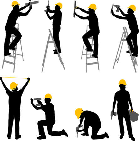Photo pour construction workers silhouettes - vector - image libre de droit