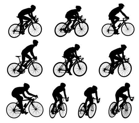 Illustration pour 10 high quality race bicyclists silhouettes  - image libre de droit