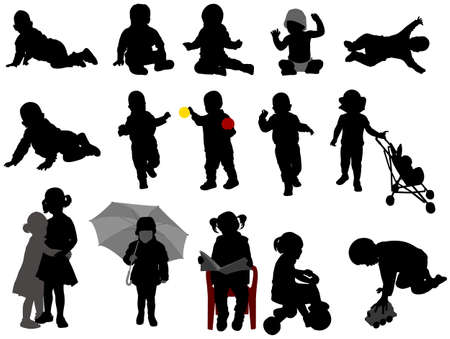 Illustration pour babies and toddlers silhouettes collection - vector - image libre de droit