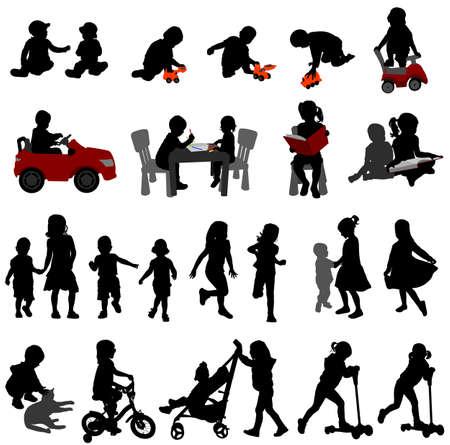 Ilustración de toddlers and kids silhouettes collection - vector - Imagen libre de derechos