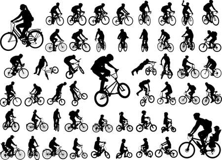 Illustrazione per 50 high quality bicyclists silhouettes collection - Immagini Royalty Free