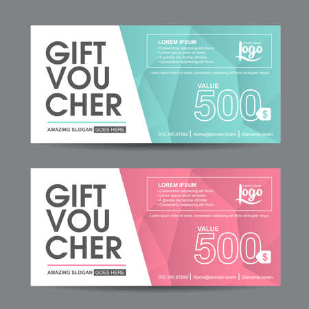 Ilustración de Gift voucher template with colorful pattern,cute gift voucher certificate coupon design template, Collection gift certificate business card banner calling card poster,Vector illustration - Imagen libre de derechos