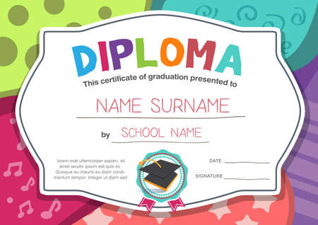 Photo pour Preschool Kids Diploma certificate background design template - image libre de droit