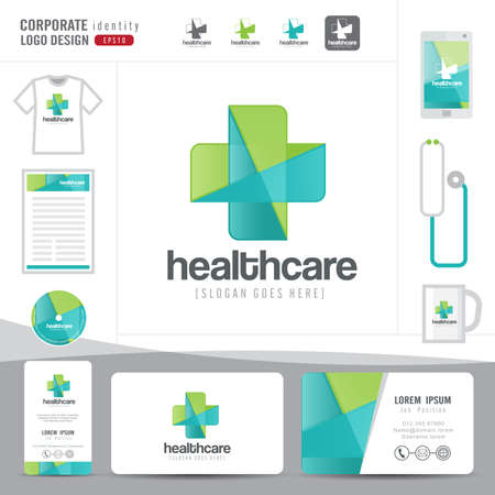 Illustration pour logo design medical healthcare or hospital and business card template with clean and modern flat pattern,Corporate identity,vector illustrator - image libre de droit