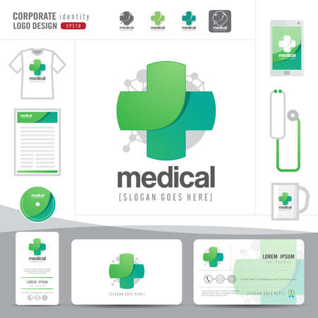 Illustration pour logo design medical healthcare or hospital and business card template clean and modern pattern,vector illustrator - image libre de droit