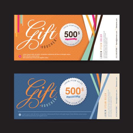 Illustration pour Gift voucher template with colorful pattern,Vector illustration - image libre de droit