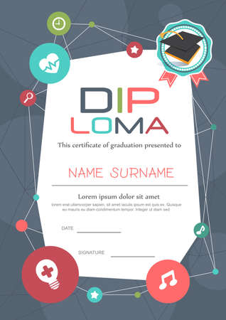 Illustration pour Preschool Kids Diploma certificate background design template - image libre de droit