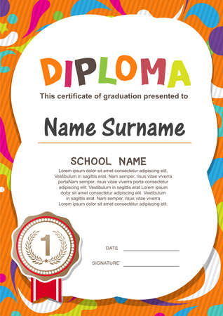 Illustration pour Preschool Kids Diploma certificate background design template - image libre de droit