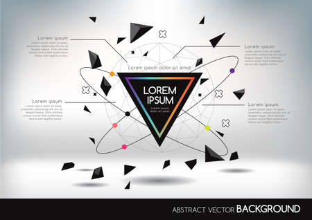 Ilustración de 3D abstract background with colorful network and geometric shapes. Vector design layout for business presentations, flyers, posters. Scientific future technology background. Geometry polygon. - Imagen libre de derechos