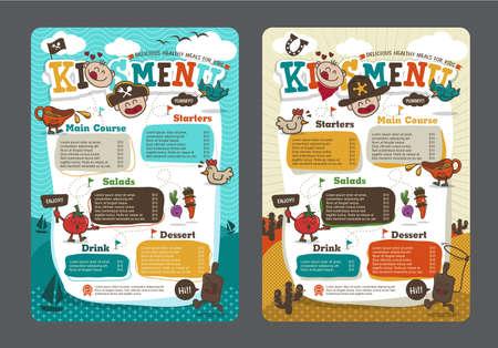 Illustration pour Cute colorful kids meal menu template with pirate cartoon and cowboy cartoon - image libre de droit