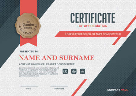 Ilustración de certificate template with clean and modern pattern,Vector illustration - Imagen libre de derechos
