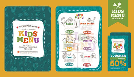 Illustration pour Cute colorful kids meal menu vector template - image libre de droit