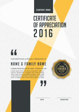 Ilustración de certificate template with clean and modern pattern,Luxury golden,Qualification certificate blank template with elegant,Vector illustration - Imagen libre de derechos