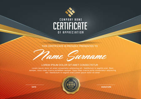 Ilustración de certificate template with Luxury and modern pattern,xA;Qualification certificate blank template with elegant,Vector illustration - Imagen libre de derechos