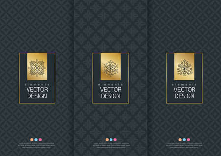 Illustration for Vector set of templates packaging, labels and frames for packaging for luxury products in trendy linear style, banner, poster, identity, branding, logo icon, seamless pattern in trendy linear style, black, ,collection packaging design,vector illustration - Royalty Free Image