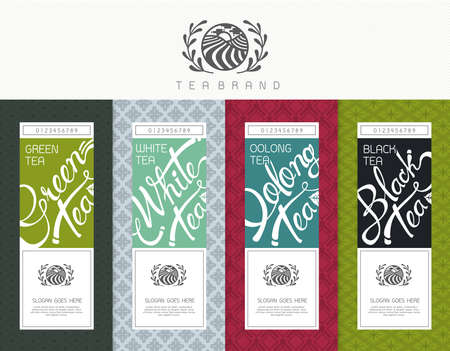 Ilustración de Vector set of templates packaging tea, label, banner, poster, identity, branding. Stylish design for black tea - green tea - white tea - oolong tea - Imagen libre de derechos