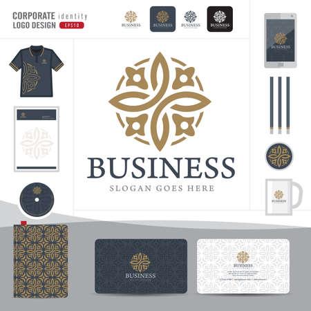 Ilustración de Abstract monogram elegant logo design,Abstract Logotype corporate identity template,Corporate identity,Abstract emblem,hotel,restaurant,vector illustrator - Imagen libre de derechos