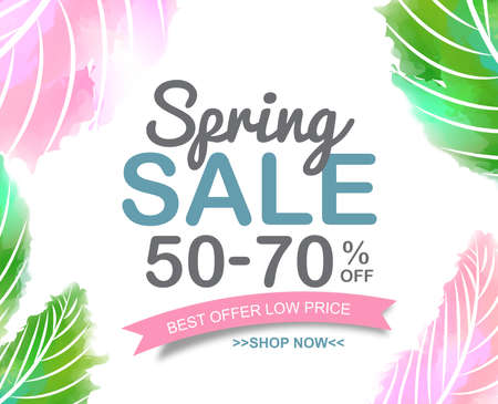 Illustration pour Spring Sale Banner poster tag design. Vector illustration - image libre de droit