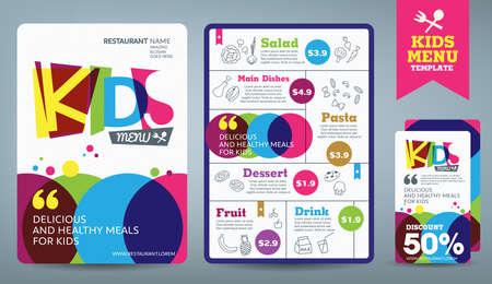 Illustration pour Cute colorful kids meal menu vector template - image libre de droit