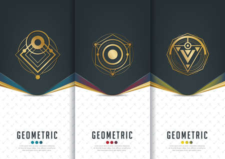 Illustration pour Vector set of templates packaging,black labels and frames for packaging for luxury products in geometric trendy linear style,identity,branding,golden pattern in trendy linear style,vector illustration - image libre de droit