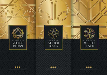 Illustration for Vector set of templates packaging, labels and frames for packaging for luxury products in trendy linear style, banner, poster, identity, branding, icon, pattern in trendy linear style, black, golden,collection packaging design,vector illustration - Royalty Free Image