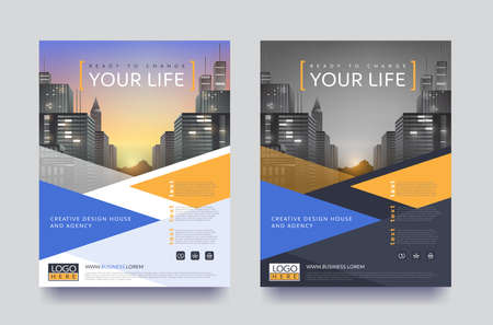 Ilustración de poster flyer pamphlet brochure cover design layout space for photo design, vector template in A4 size - Imagen libre de derechos