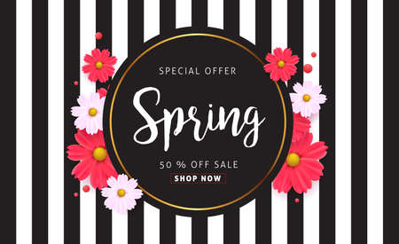 Illustration pour Spring sale background with beautiful colorful flower. Vector illustration.banners.Wallpaper.flyers, invitation, posters, brochure, voucher discount. - image libre de droit